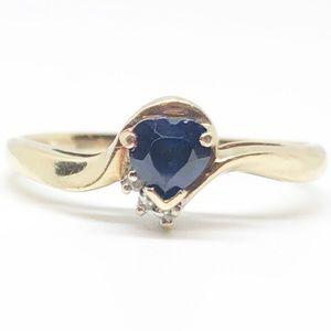 10k Yellow Gold Genuine Blue Sapphire Heart Ring